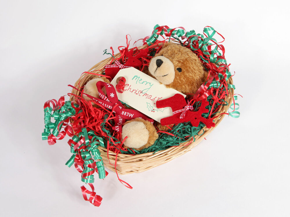 Christmas Hamper Basket.New Born Baby Christmas Hamper Bear In A Basket