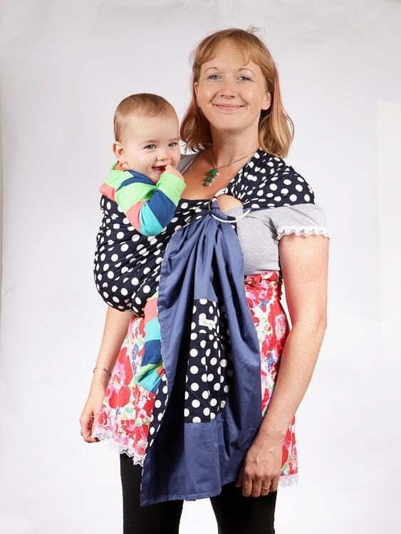 Baby Ring Sling In Navy Blue With White Spots By Palm Amp Pond