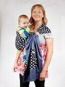 Baby Ring Sling Carrier - Blue & White Polka Dot additional 2