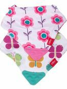 Nuby Bandana Teething Bibs 2 Pack Pink Flower/Butterfly additional 1