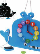 Jumini Wooden Whale Clock and Blackboard 36+ mths additional 5