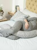 Dreamgenii Pregnancy Support & Feeding Pillow - Floral Grey/White additional 3