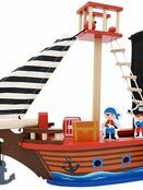 jumini Wooden Toy Pirate Ship - with 2 Pirates and 3 Accessories - Jolly Roger flag additional 1