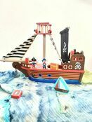 jumini Wooden Toy Pirate Ship - with 2 Pirates and 3 Accessories - Jolly Roger flag additional 3