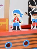jumini Wooden Toy Pirate Ship - with 2 Pirates and 3 Accessories - Jolly Roger flag additional 8