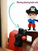 jumini Wooden Toy Pirate Ship - with 2 Pirates and 3 Accessories - Jolly Roger flag additional 7