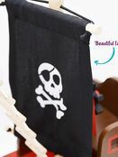 jumini Wooden Toy Pirate Ship - with 2 Pirates and 3 Accessories - Jolly Roger flag additional 6