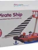 jumini Wooden Toy Pirate Ship - with 2 Pirates and 3 Accessories - Jolly Roger flag additional 2