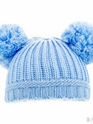 Soft Touch Plain Ribbed Hat Pom-Poms 0-12 mths - Choose your colour additional 3