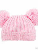 Soft Touch Plain Ribbed Hat Pom-Poms 0-12 mths - Choose your colour additional 2
