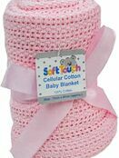 Soft Touch Cellular Cotton Baby Blanket 70 x 100cm - Choose your colour additional 2