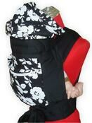 Black & White Floral Mei Tai Baby Sling With Hood & Pocket additional 1