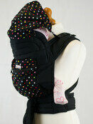 Mei Tai With Hood & Pocket - Black With Small Polka Dots additional 1