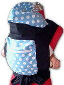 Light Blue Mei Tai Baby Sling With White Spots, Hood and Pocket additional 1