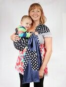 Baby Ring Sling Carrier - Blue & White Polka Dot additional 1