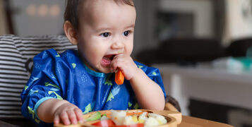 Baby,Boy,Eating,Finger,Food,And,Mix,Vegetable,Plate.baby,Led