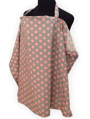Palm & Pond Breastfeeding Cover With Boning - Grey with Pink Spots Design