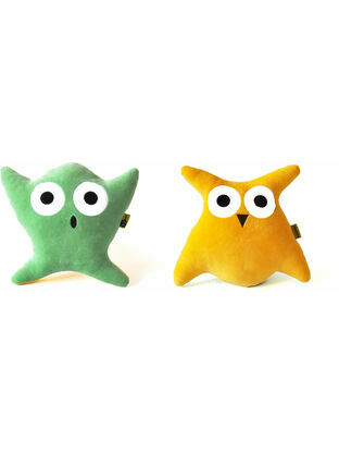 Vandis Spugglan Yellow/Green Ghost & Owl Plush Toy and Cushion Pillow