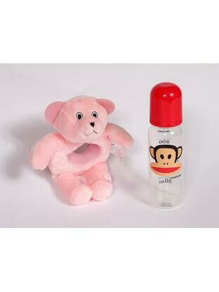 Baby Bottle Buddy Bottle Holder and teether - Pink Bear