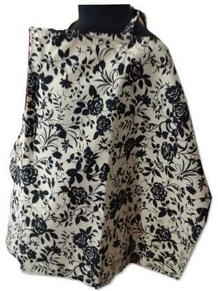Palm & Pond Breastfeeding Cover With Boning  - Black Floral on Tan