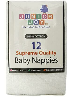 12 Supreme Quality Terry Square Washable Cloth Nappies - White