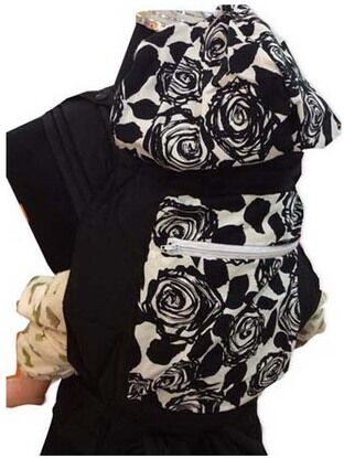 Mei Tai With Hood And Pocket - Black Floral