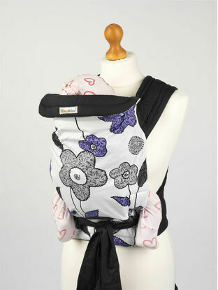 Purple Grey Floral Soft & Comfortable Mei Tai Baby Sling