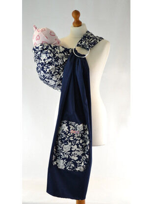Palm and Pond Ring Sling Blue/White Floral