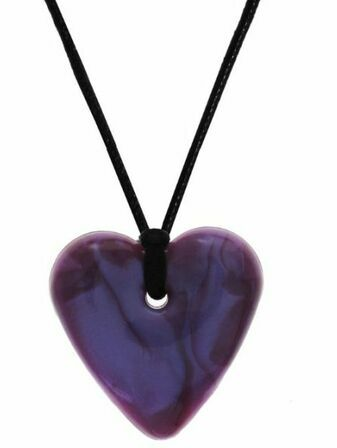 Gumigem Heart Shaped Baby Teething Necklace - Maisey Moo Purple
