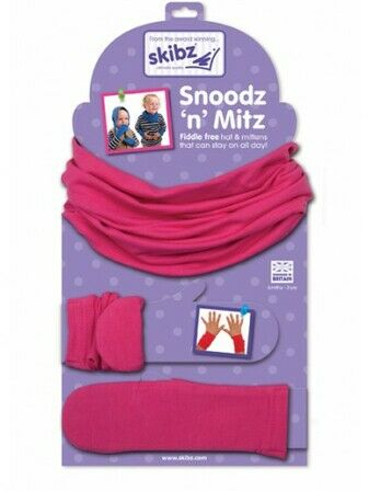 Bright Pink Snoodz'n Mitz Hat and Mittens by Skibz 6 mths - 3 yrs