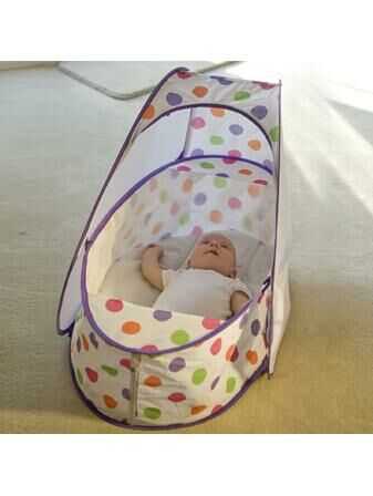 Koo-Di Pop Up Travel Bassinette Purple Polka Dot 0-6 Mths