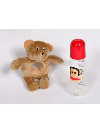Baby Bottle Buddy Bottle Holder and teether - Brown Bear