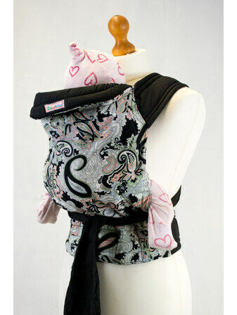 Palm and Pond Mei Tai Baby Carrier - Black Paisley Design