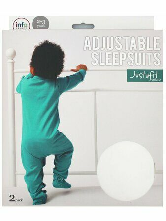 Justafit Adjustable Baby Sleepsuit - Teal - 2 Pack