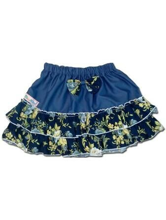 100% Cotton Baby RaRa Skirt - Blue With Blue Floral Print
