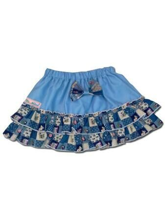 100% Cotton Baby RaRa Skirt - Baby Blue With Blue Patchwork