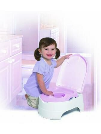 Potty Seat and Step Stool 3-in-1 Training System - Pink