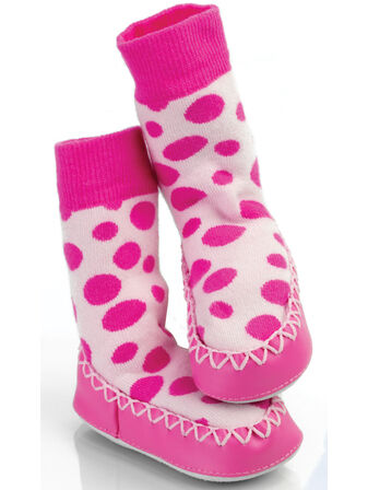 Mocc Ons Toddler Slipper Socks - Pink Spot