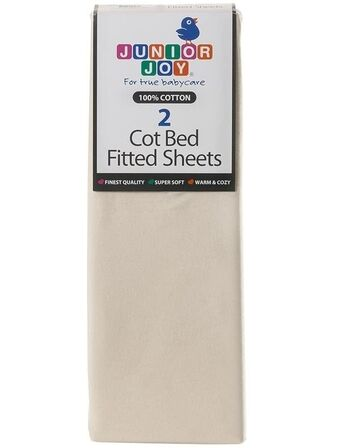 Fitted Cotbed Sheets 2 x fitted cot bed sheets per pack - Cream