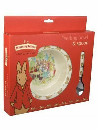 Bunnykins Melamine Feeding Bowl & Spoon - Running Bunnies