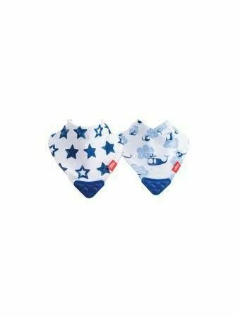Nuby Bandana Teething Bibs 2 Pack Blue Helicopter/Stars