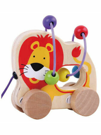 Jumini Pull Along Lion Bead Maze Natural Wood Development Toy
