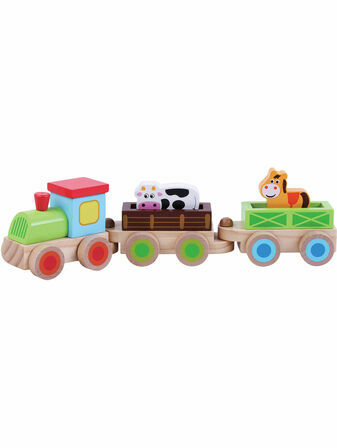 Jumini Farm Train Natural Wood Development Toy