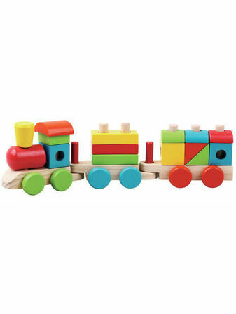 Jumini Natural Wood Stacking Train Development Toy
