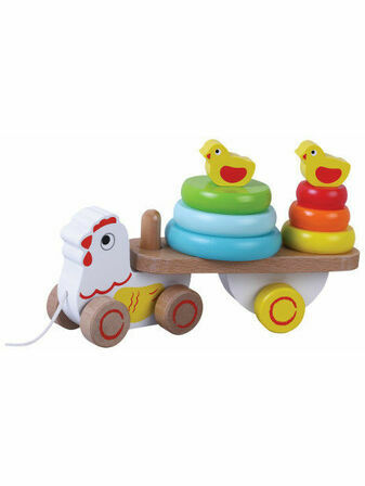 Jumini Pull Along Chicken Natural Wood Development Toy