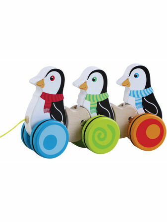 Jumini Pull Along Penguins Natural Wood Development Toy