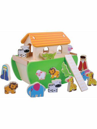 Jumini Noahs Ark Shape Sorter Natural Wood Development Toy