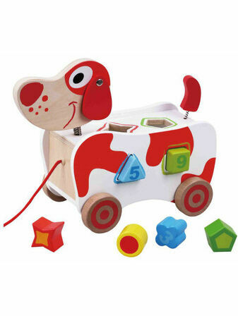 Jumini Pull Along Dog Shape Sorter Natural Wood Development Toy
