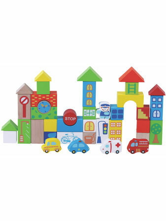 Jumini Traffic Building Blocks Natural Wood Development Toy