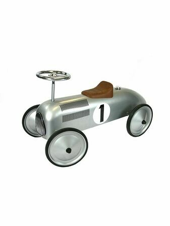 Great Gizmos Retro Racer Sit n Ride Car Silver